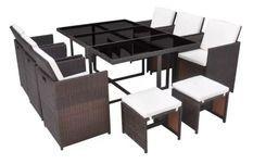 Table rectangulaire et 6 chaises de jardin résine tressée marron Iris