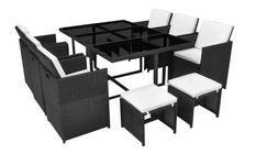 Table rectangulaire et 6 chaises de jardin résine tressée noir Iris