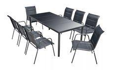Table rectangulaire et 8 chaises de jardin métal et tissu noir Mahe