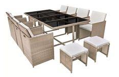 Table rectangulaire et 8 chaises de jardin résine tressée beige Iris