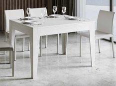 Table rectangulaire extensible 4 à 6 personnes 120/180 cm bois frêne blanc Kina