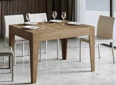 Table rectangulaire extensible 4 à 6 personnes 120/180 cm chêne naturel Kina