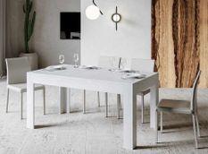 Table rectangulaire extensible 4 à 10 personnes L 160 à 220 cm cendre blanche Tipi