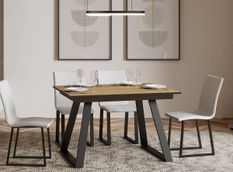 Table rectangulaire extensible 4 à 6 personnes L 120 à 180 cm bois clair et métal anthracite Bareni
