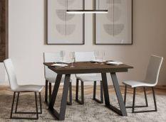 Table rectangulaire extensible 4 à 6 personnes L 120 à 180 cm bois foncé et métal anthracite Bareni