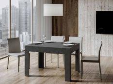 Table rectangulaire extensible 4 à 6 personnes L 120 à 180 cm anthracite spatulé Tipi