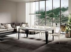 Table rectangulaire extensible 6 à 12 personnes L 160 à 264 cm blanc brillant et pieds métal anthracite Faye