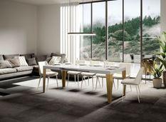 Table rectangulaire extensible 6 à 12 personnes L 160 à 264 cm blanc brillant et pieds métal doré Faye