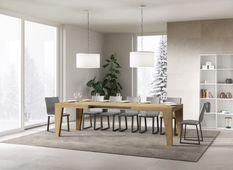 Table rectangulaire extensible 6 à 12 personnes L 160 à 264 cm bois clair Naxo