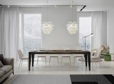 Table rectangulaire extensible 6 à 12 personnes L 160 à 264 cm bois foncé et pieds métal anthracite Faye