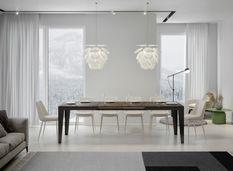Table rectangulaire extensible 6 à 14 personnes L 180 à 284 cm bois foncé et cadre métal anthracite Faye