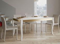Table rectangulaire extensible 6 à 14 personnes L 180 à 284 cm frêne blanc et métal doré Ola