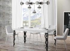 Table rectangulaire extensible orientale 6 à 20 personnes L 180 à 440 cm blanc brillant et pieds métal anthracite Kazay