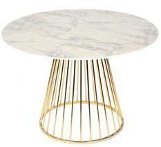 Table à manger ronde effet marbre blanc et pieds métal doré Caesar 110 cm