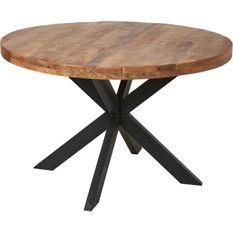 Table ronde 120 cm bois massif acacia naturel et pieds croisés acier noir Vintal