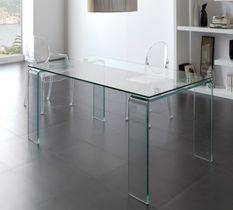 Table ronde acier chromé et verre trempé Kancia 120 cm