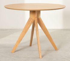 Table ronde bois d'hévéa naturel Kiten 100 cm