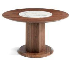 Table ronde bois noyer et plateau tournant en marbre céramique blanc Mykal 120 cm