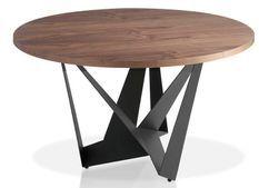 Table ronde bois plaqué noyer et pieds acier inoxydable noir Gala 150 cm