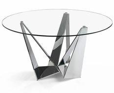 Table ronde design acier chromé et verre trempé Gala 150 cm