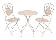 Table ronde et 2 chaises de jardin blanc Brook