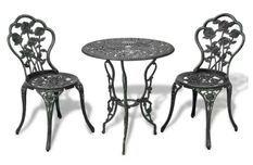 Table ronde et 2 chaises de jardin métal coulé vert Bridge
