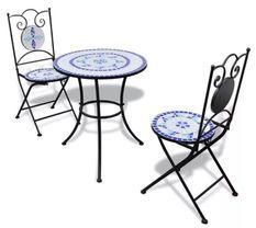 Table ronde et 2 chaises de jardin mosaïquées bleu et blanc Mel