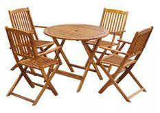 Table ronde et 4 chaises de jardin acacia clair Polina