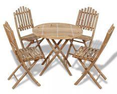 Table ronde et 4 chaises de jardin bambou clair Kyca