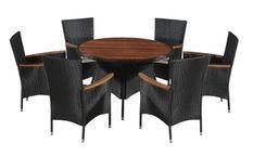 Table ronde et 6 chaises de jardin acacia foncé et résine tressée Vidot