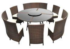 Table ronde et chaises de jardin métal et résine tressée marron Kraft