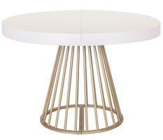 Table ronde extensible blanche et pieds doré Wenny 160/210/260 cm