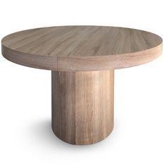 Table ronde à rallonges bois chêne clair Kiassy 110 à 260 cm