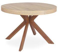 Table ronde extensible bois clair et pieds métal marron Kare 110/160/210/260 cm