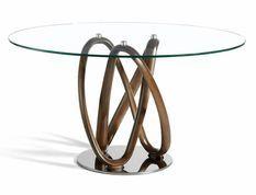 Table ronde incurvée bois noyer et verre trempé Pinta 140 cm