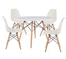 Table ronde scandinave 120 cm et 4 chaises blanc et bois naturel Verda