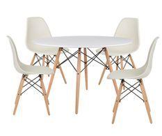Table ronde scandinave 120 cm et 4 chaises crème et naturel Verda