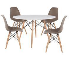 Table ronde scandinave 120 cm et 4 chaises taupe et naturel Verda