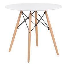 Table ronde scandinave blanche et pieds bois clair Bristol 80 cm