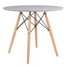 Table ronde scandinave gris et pieds bois clair Bristol 80 cm