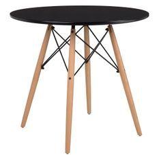 Table ronde scandinave noir et pieds bois clair Bristol 80 cm