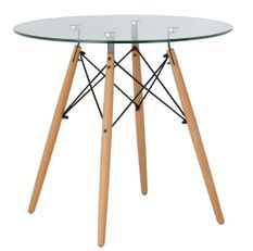 Table ronde scandinave verre trempé et pieds bois clair & chromé Bristol 80 cm