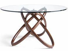 Table ronde torsadée bois noyer et verre trempé Artista 150 cm