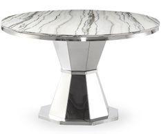 Table ronde verre effet marbre et pied métal argenté Vannie