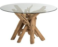 Table ronde verre et pieds bois massif clair Azura 128 cm