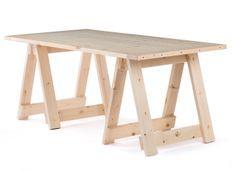 Table tréteaux bois massif naturel Rustiba 180 cm