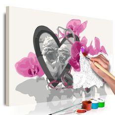 Tableau à peindre par soi-même Anges (coeur et orchidée rose)