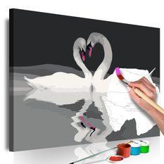 Tableau à peindre par soi-même Couple de cygnes