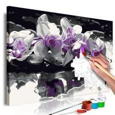Tableau à peindre par soi-même Orchidée violette (fond noir et reflet dans l'eau)