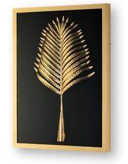 Tableau rectangulaire motif feuille dorée bois et verre Elia